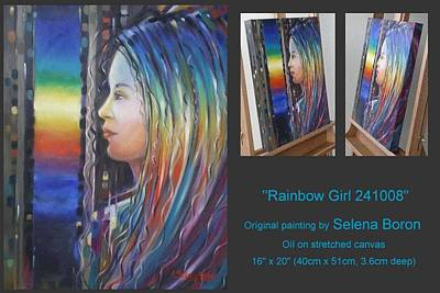 Art Print featuring the painting Rainbow Girl 241008 by Selena Boron