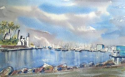Painting - Rainbow Harbor And The Oil Island Version 2 by Debbie Lewis