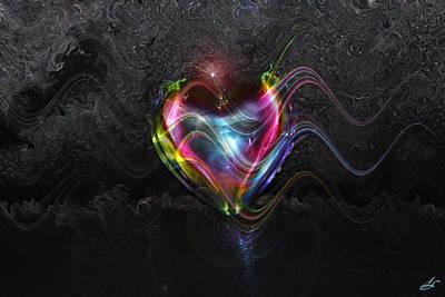 Digital Expressions Digital Art - Rainbow Heart by Linda Sannuti