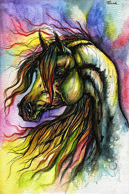 Arabian Horses Painting - Rainbow Horse 2 by Angel  Tarantella