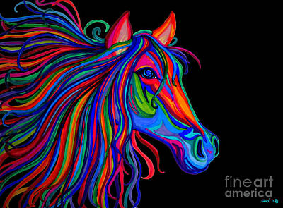 Best Sellers - Animals Drawings - Rainbow Horse Head by Nick Gustafson