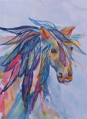 Painting - Rainbow Horse Spirit by Ellen Levinson