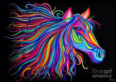 Animals Digital Art - Rainbow Horse Too by Nick Gustafson