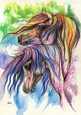 Rainbow Horses Drawing - Rainbow Horses 28 10 2013 by Angel  Tarantella