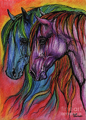 Rainbow Horses Original by Angel  Tarantella