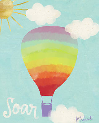 Rainbow Hot Air Balloon Art Print by Katie Doucette