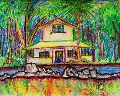 Pyrography Painting - Rainbow House by W Gilroy