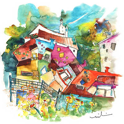 Portugal Art Painting - Rainbow Houses In Vila Do Bospo In Portugal by Miki De Goodaboom
