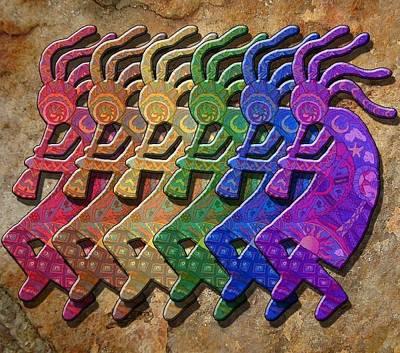 Rainbow Kokopellis Art Print