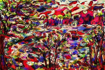 Pink Black Tree Rainbow Mixed Media - Rainbow Landscape by Natalie Holland