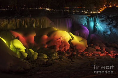 Photograph - Rainbow Light On Frozen Falls by JT Lewis