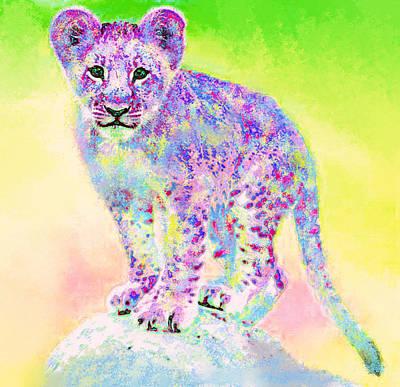 Digital Art - Rainbow Lion Cub by Jane Schnetlage