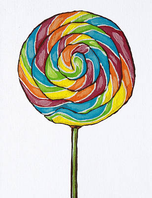 Painting - Rainbow Lollipop On White by Sandy Tracey