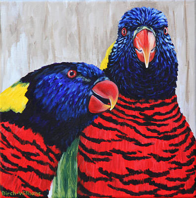 Painting - Rainbow Lorikeets by Penny Birch-Williams