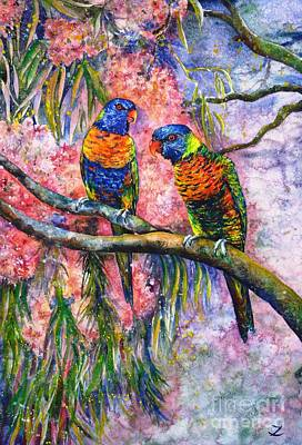 Painting - Rainbow Lorikeets by Zaira Dzhaubaeva