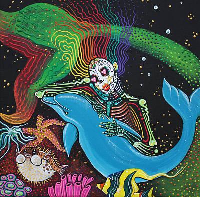 Skeletons Painting - Rainbow Mermaid by Laura Barbosa