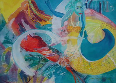 Inner Journey Painting - Rainbow Mermaids by Diane Renchler