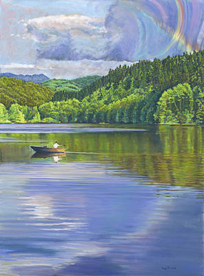Painting - Lake Padden - View From The Alex Johnston Memorial Bench by Nick Payne