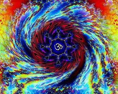 Rainbow Om Fractal Swirl Art Print by Richard Copeland