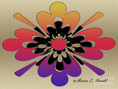 Digital Art - Rainbow On Gold Floral Design by Monica C Stovall