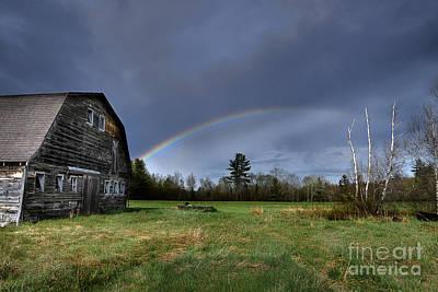 Maine Old Barn Photograph - Rainbow On The Farm by Alana Ranney