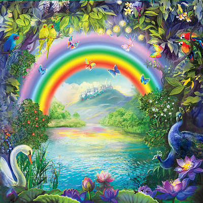 Painting - Backgraund Rainbow On Varshana  by Lila Shravani
