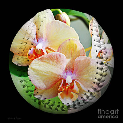 Baseball Season Photograph - Rainbow Orchids Baseball Square by Andee Design