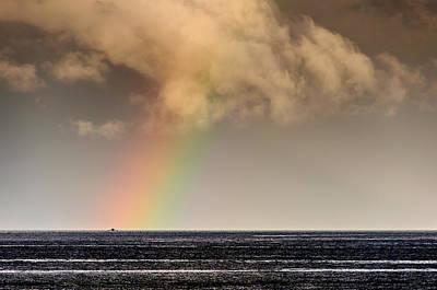 Rainbow Over A Black Ocean Art Print by Colin Utz