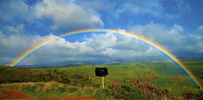 Rainbow Over A Mailbox Art Print by Kicka Witte