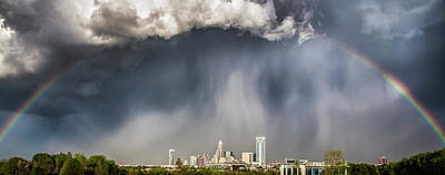 Skyline Photograph - Rainbow Over Charlotte by Chris Austin