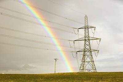 Grid Photograph - Rainbow Over Electricity Pylons by Ashley Cooper