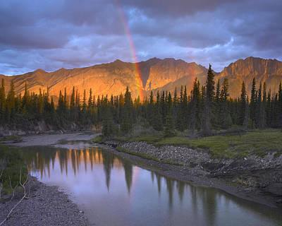 Rainbow Over Fairholme Range And Exshaw Art Print by Tim Fitzharris