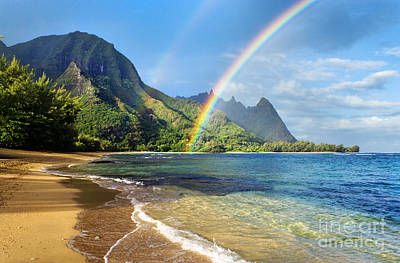 Shoreline Photograph - Rainbow Over Haena Beach by M Swiet Productions