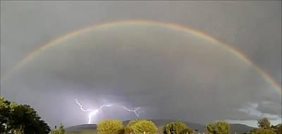 Rainbow Over Lightening Art Print