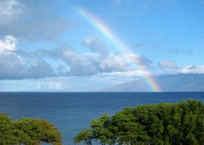 Beautiful Scenery Painting - Rainbow Over Maui by Danny Smythe