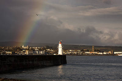 Photograph - Rainbow Over Newlyn Harbour Lighthouse by Tony Mills