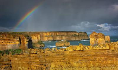 Ocean Storm Photograph - Rainbow Over Southern Ocean by Joan Carroll