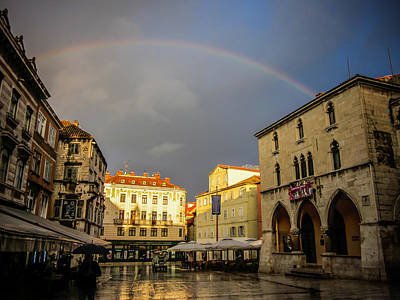 Photograph - Rainbow Over Split Croatia by Anthony Doudt