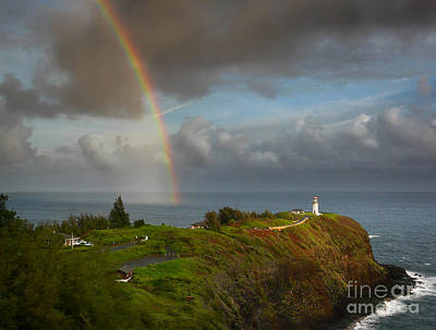 Rainbow Over Kilauea Lighthouse On Kauai Art Print
