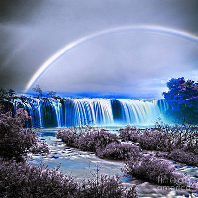 Rainbow Over The Waterfall  Art Print