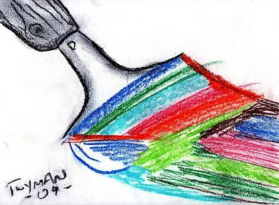 Surrealism Drawing - Rainbow Paintbrush by Dan Twyman