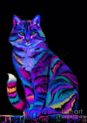 Critters Digital Art - Rainbow Painted Tiger Cat by Nick Gustafson