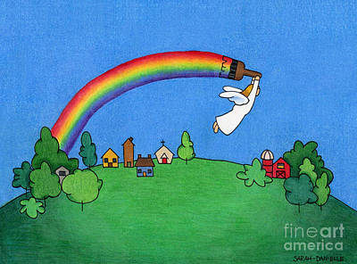 Greetings Card Drawing - Rainbow Painter by Sarah Batalka