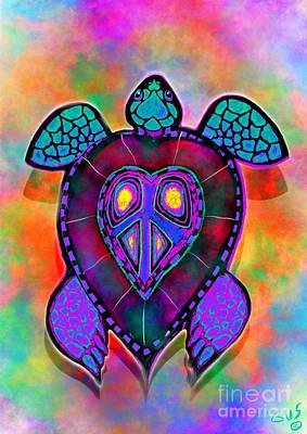 Reptiles Royalty-Free and Rights-Managed Images - Rainbow Peace Turtle  by Nick Gustafson