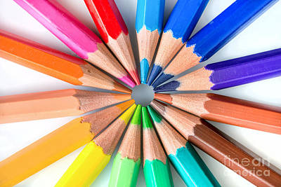 Rainbow Pencils Print by Delphimages Photo Creations