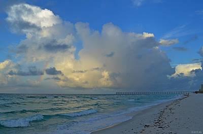 Photograph - Rainbow Producing Cumulonimbus Rain Shower On The Gulf Off Navarre Beach by Jeff at JSJ Photography