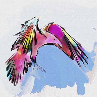 Corvid Digital Art - Rainbow Raven by Richard Okun