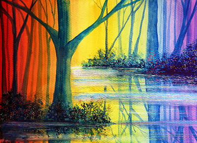 Wood Painting - Rainbow Reflections by Ann Marie Bone