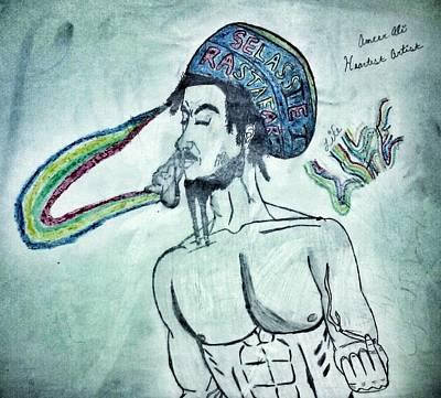Rasta Drawing - Rainbow Root Rasta by Ameer Earley