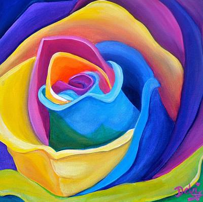 Attention Painting - Rainbow Rose by Debi Starr